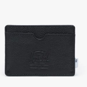 NWT Herschel Charlie Tile Wallet Leather Black